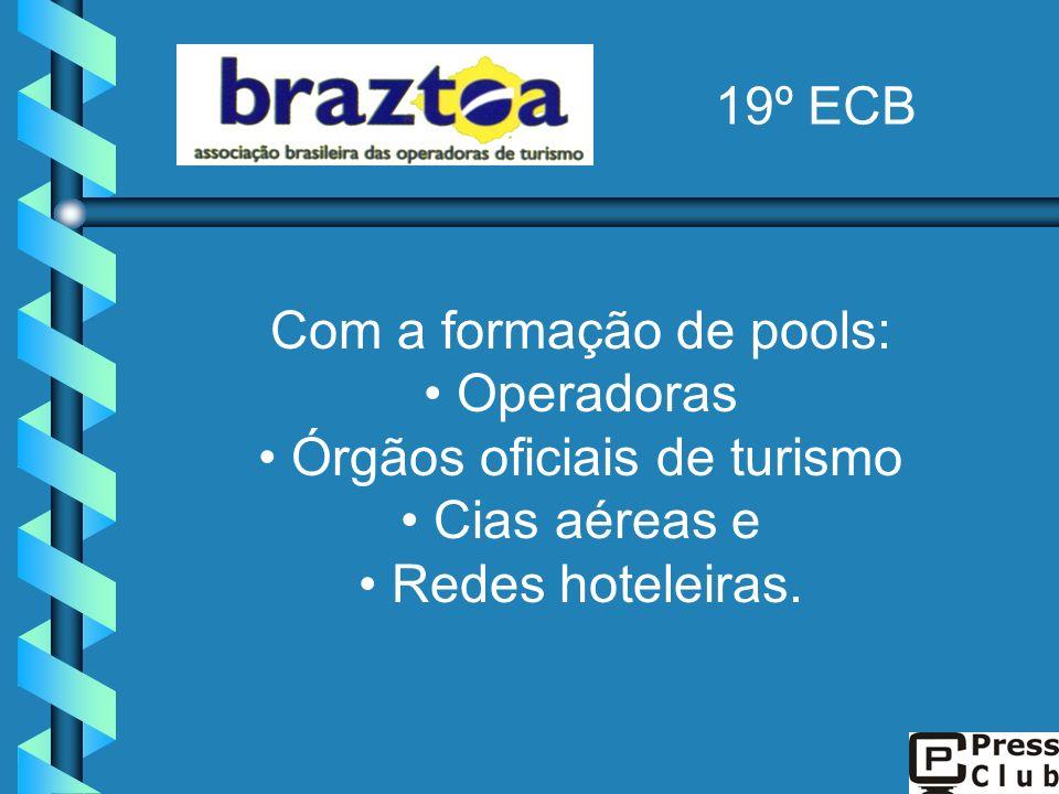 Com a formação de pools: Operadoras Órgãos oficiais de turismo Cias aéreas e Redes hoteleiras. 19º ECB