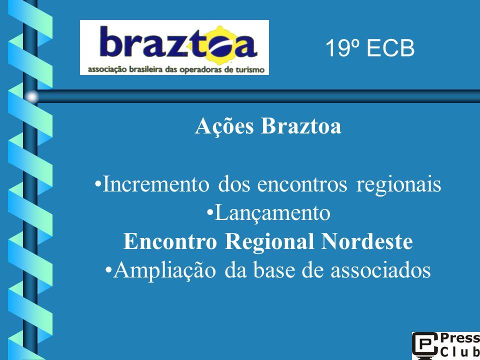 Ações Braztoa Incremento dos encontros regionais Lançamento Encontro Regional Nordeste Ampliação da base de associados 19º ECB