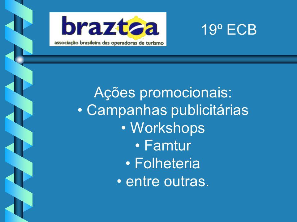 Ações promocionais: Campanhas publicitárias Workshops Famtur Folheteria entre outras.