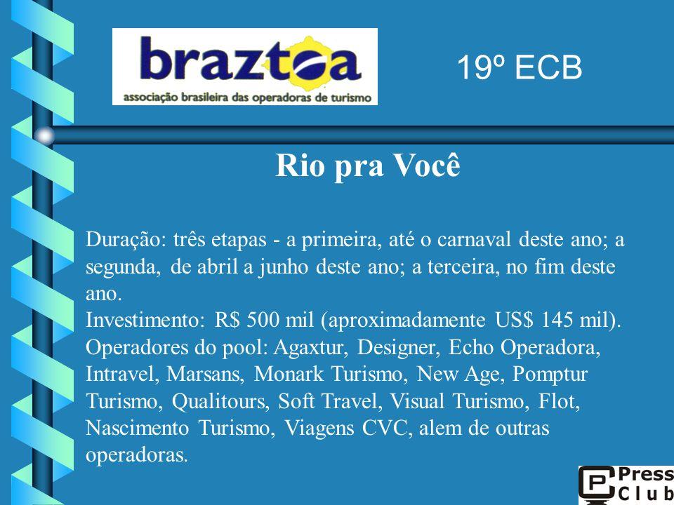 Rio pra Você Duração: três etapas - a primeira, até o carnaval deste ano; a segunda, de abril a junho deste ano; a terceira, no fim deste ano. Investi