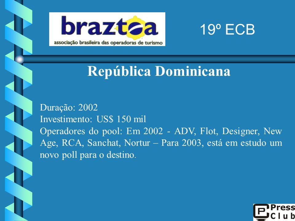 República Dominicana Duração: 2002 Investimento: US$ 150 mil Operadores do pool: Em 2002 - ADV, Flot, Designer, New Age, RCA, Sanchat, Nortur – Para 2