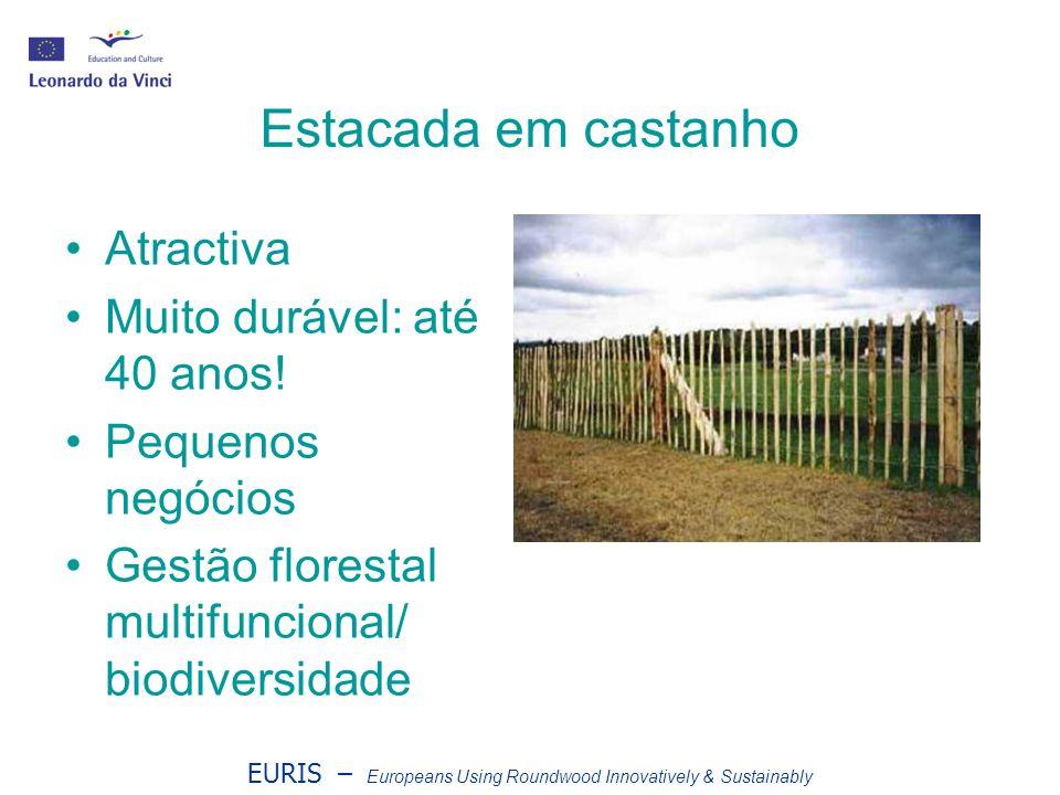 EURIS – Europeans Using Roundwood Innovatively & Sustainably Estacada em castanho Atractiva Muito durável: até 40 anos! Pequenos negócios Gestão flore