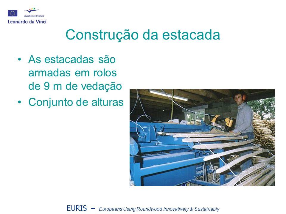 EURIS – Europeans Using Roundwood Innovatively & Sustainably Construção da estacada As estacadas são armadas em rolos de 9 m de vedação Conjunto de alturas