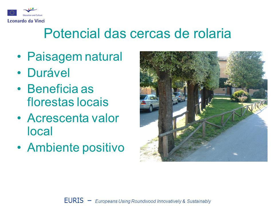 EURIS – Europeans Using Roundwood Innovatively & Sustainably Potencial das cercas de rolaria Paisagem natural Durável Beneficia as florestas locais Acrescenta valor local Ambiente positivo