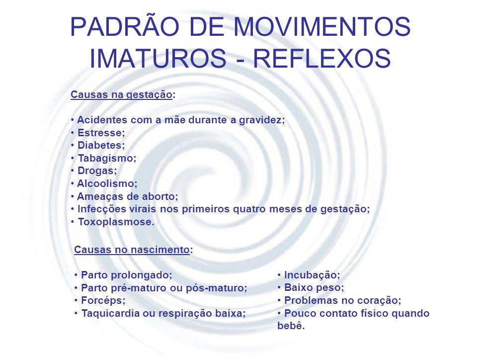 REFLEXOS Durante as avaliações foram encontrados alguns reflexos: RTL – Reflexo Tônico Labiríntico (Tatu-bola) Inibido até 6º mês de vida.