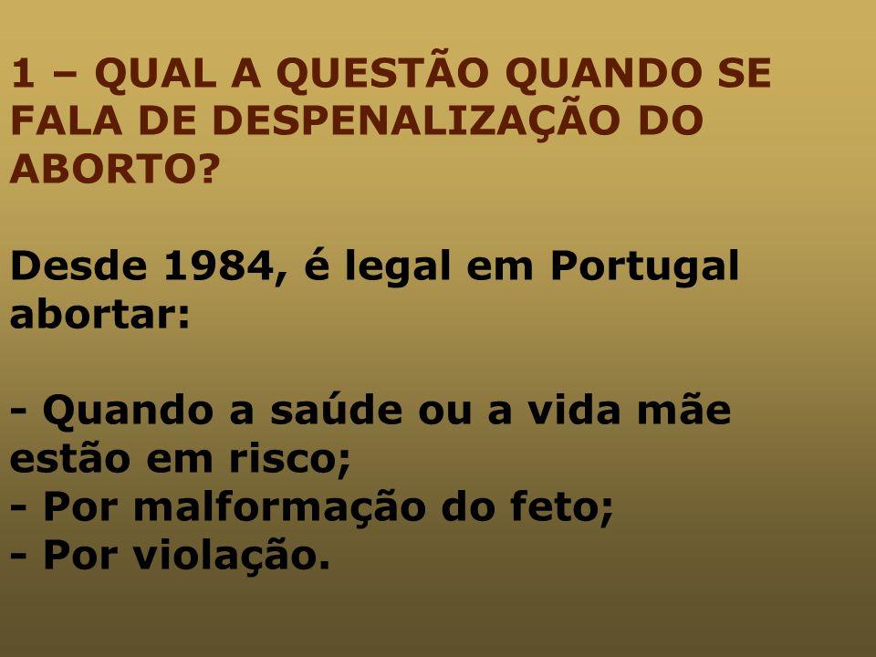 1 – QUAL A QUESTÃO QUANDO SE FALA DE DESPENALIZAÇÃO DO ABORTO? Desde 1984, é legal em Portugal abortar: - Quando a saúde ou a vida mãe estão em risco;
