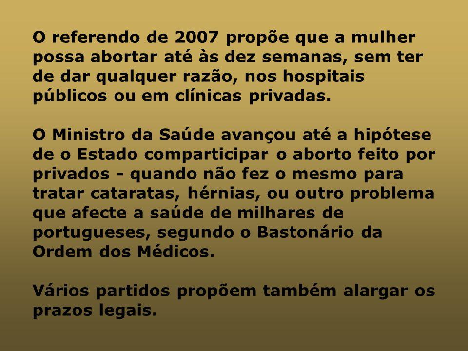 O referendo de 2007 propõe que a mulher possa abortar até às dez semanas, sem ter de dar qualquer razão, nos hospitais públicos ou em clínicas privada