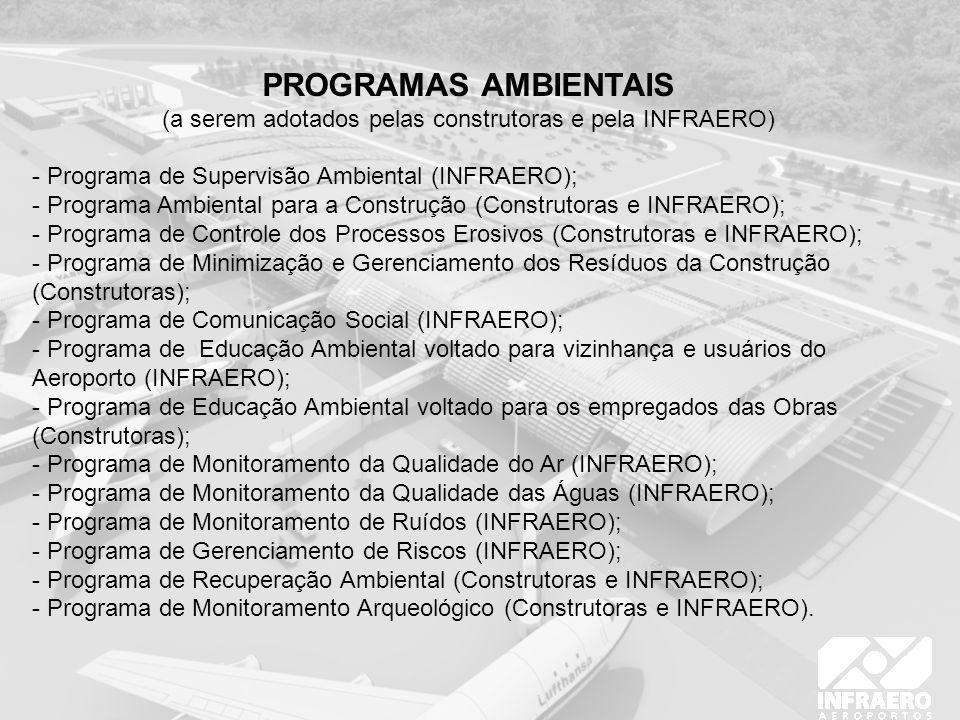 PROGRAMAS AMBIENTAIS (a serem adotados pelas construtoras e pela INFRAERO) - Programa de Supervisão Ambiental (INFRAERO); - Programa Ambiental para a