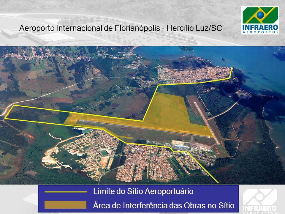 Limite do Sítio Aeroportuário Área de Interferência das Obras no Sítio Aeroporto Internacional de Florianópolis - Hercílio Luz/SC