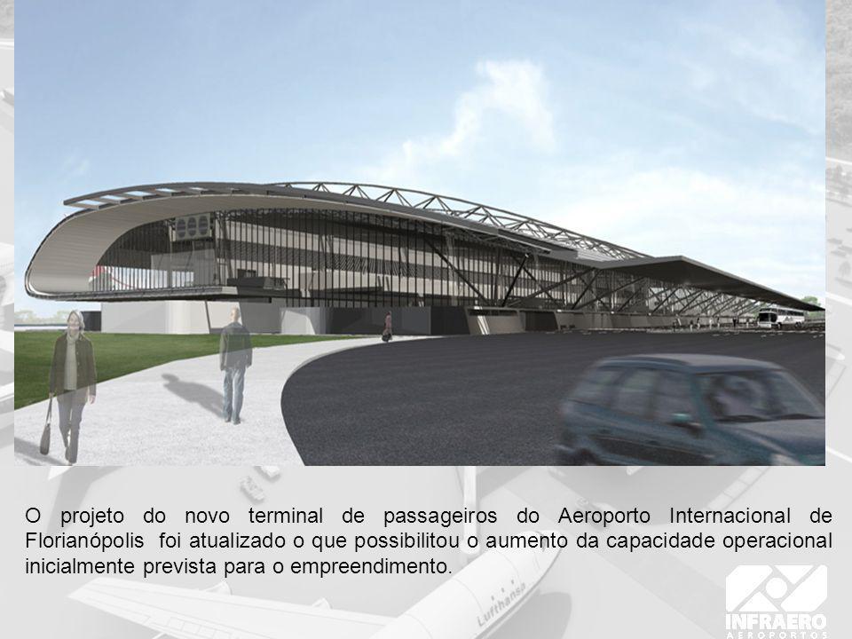 Dados do Novo Empreendimento Dados Atuais Capacidade nominal (revisada pela área de operações para entre as faixas baixa (8h) e alta (12h) Entre 4,5 e 6,7 milhões de pax/ano Entre 2,1 e 2,5 milhões de pax/ano Área construída total35.817 m²9.540m² Área de pistas de rolagem23.371 m²9.200 m² Número de pistas de rolagem/taxiways 52 Saída rápidas10 Área de pátio de aeronaves85.000 m²20.187 m² Capacidade do pátio de aeronaves 125 Área de estacionamento57.000 m²16.500 m² Capacidade do estacionamento 1.800 vagas500 vagas Número de pontes de embarque 50