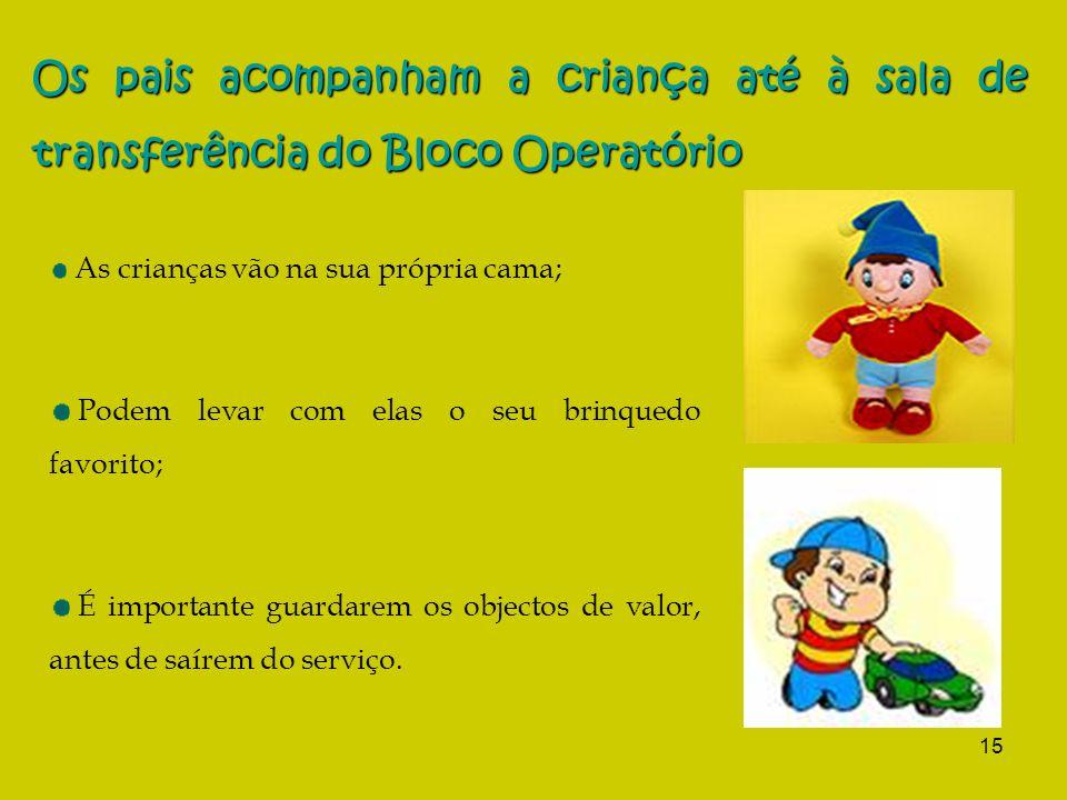 15 Os pais acompanham a criança até à sala de transferência do Bloco Operatório As crianças vão na sua própria cama; Podem levar com elas o seu brinqu
