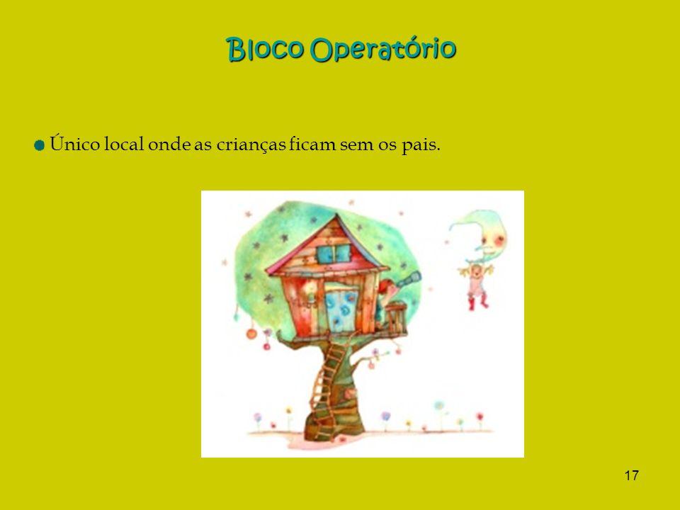 17 Bloco Operatório Único local onde as crianças ficam sem os pais.