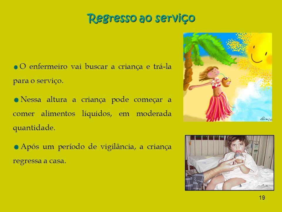 19 Regresso ao serviço O enfermeiro vai buscar a criança e trá-la para o serviço. Nessa altura a criança pode começar a comer alimentos líquidos, em m