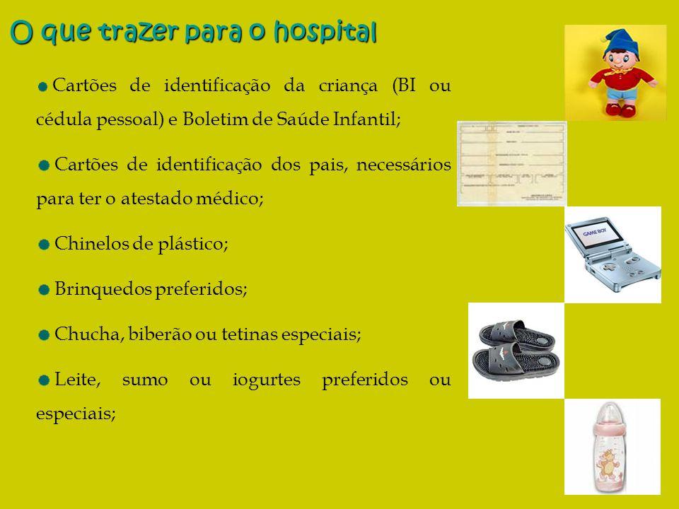 4 Cartões de identificação da criança (BI ou cédula pessoal) e Boletim de Saúde Infantil; Cartões de identificação dos pais, necessários para ter o at