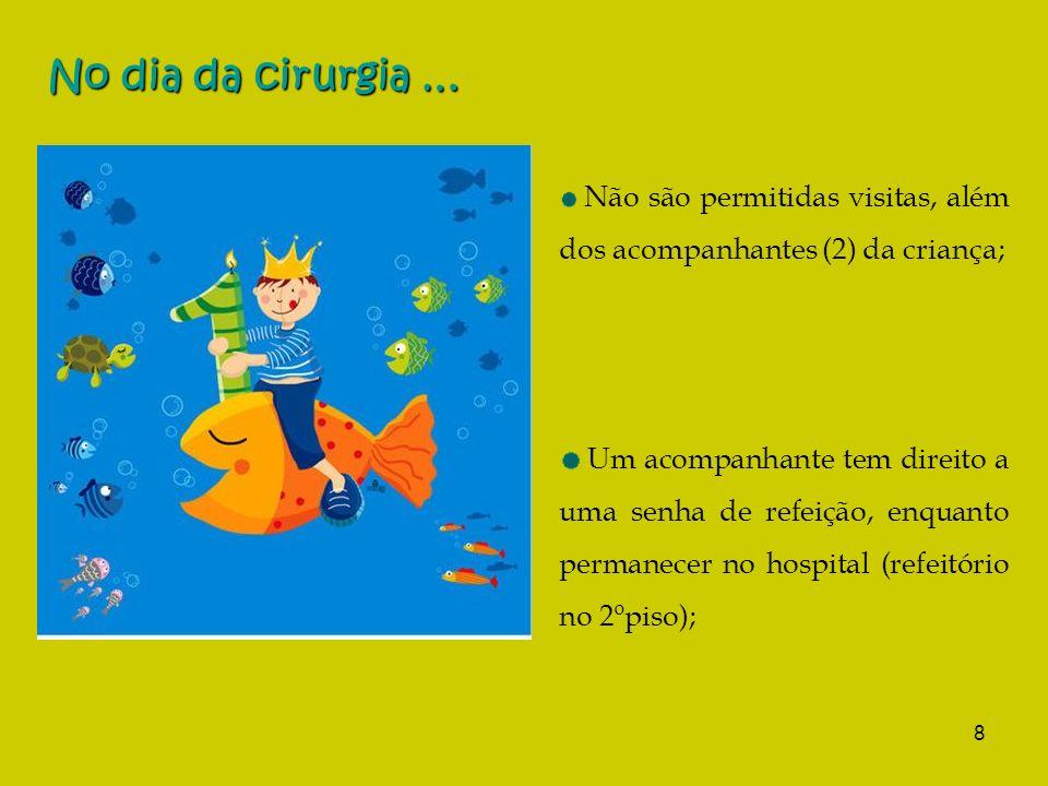8 No dia da cirurgia … Não são permitidas visitas, além dos acompanhantes (2) da criança; Um acompanhante tem direito a uma senha de refeição, enquanto permanecer no hospital (refeitório no 2ºpiso);