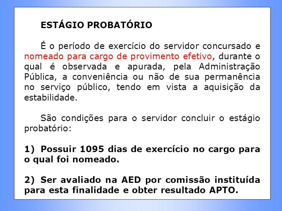 ESTÁGIO PROBATÓRIO É o período de exercício do servidor concursado e nomeado para cargo de provimento efetivo, durante o qual é observada e apurada, p