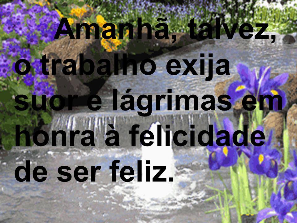 Amanhã, talvez, o trabalho exija suor e lágrimas em honra à felicidade de ser feliz.