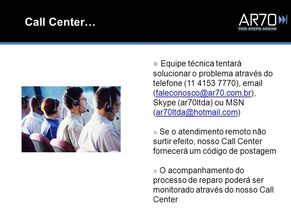 Call Center… » Equipe técnica tentará solucionar o problema através do telefone (11 4153 7770), email (faleconosco@ar70.com.br), Skype (ar70ltda) ou M