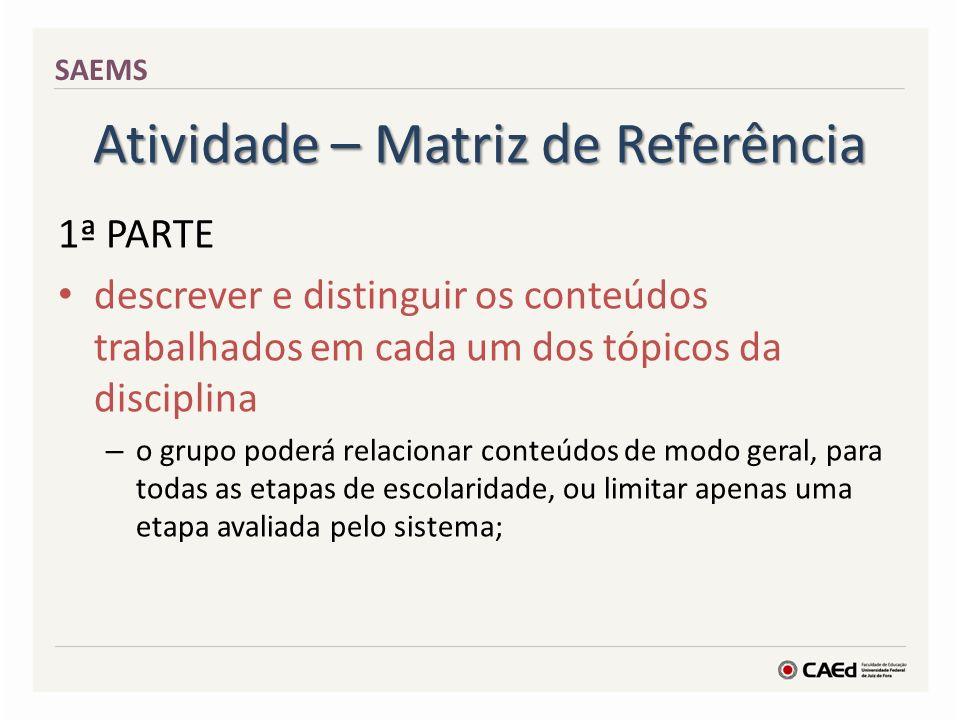 Atividade – Matriz de Referência 1ª PARTE descrever e distinguir os conteúdos trabalhados em cada um dos tópicos da disciplina – o grupo poderá relaci