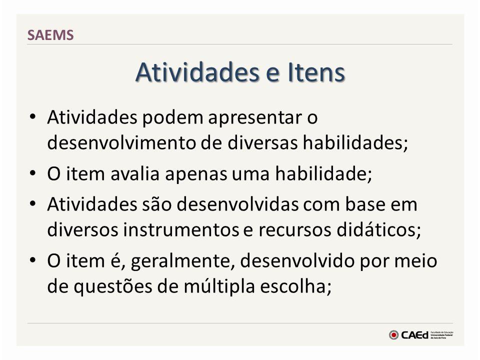 Atividades e Itens SAEMS Atividades podem apresentar o desenvolvimento de diversas habilidades; O item avalia apenas uma habilidade; Atividades são de
