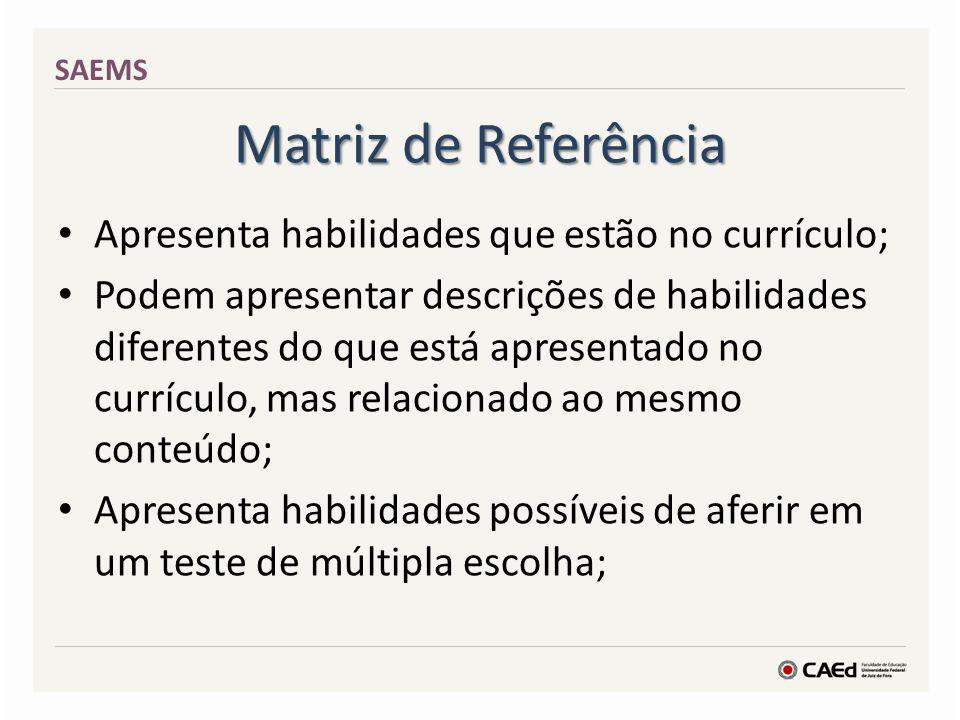 Matriz de Referência Apresenta habilidades que estão no currículo; Podem apresentar descrições de habilidades diferentes do que está apresentado no cu