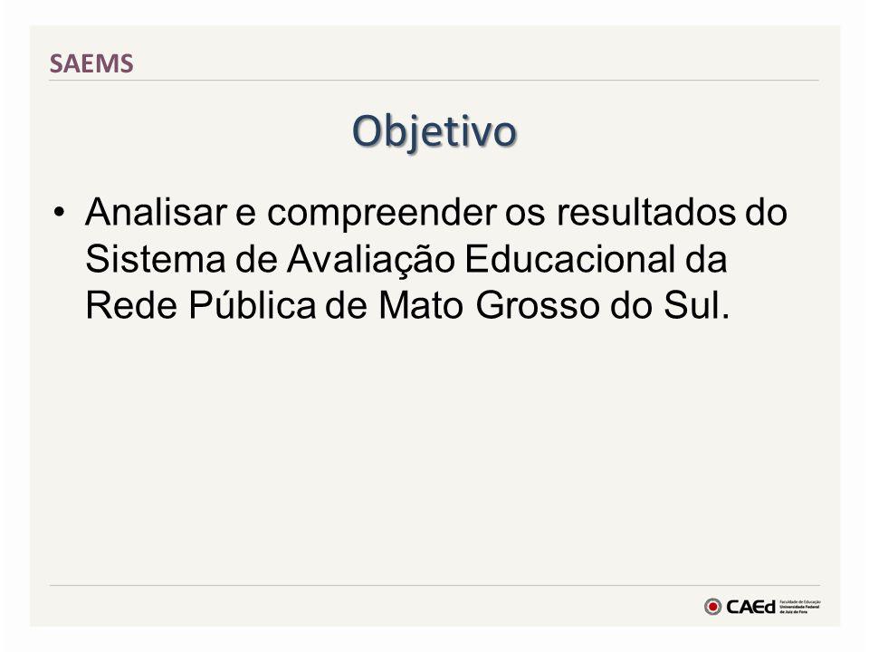 Objetivo Analisar e compreender os resultados do Sistema de Avaliação Educacional da Rede Pública de Mato Grosso do Sul. SAEMS