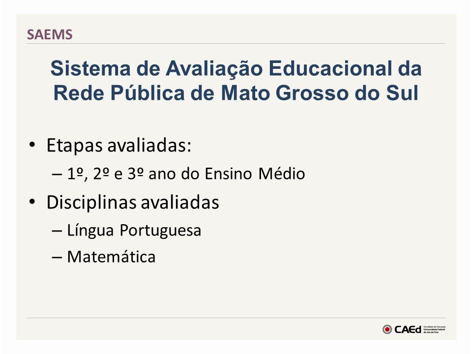 Sistema de Avaliação Educacional da Rede Pública de Mato Grosso do Sul Etapas avaliadas: – 1º, 2º e 3º ano do Ensino Médio Disciplinas avaliadas – Lín
