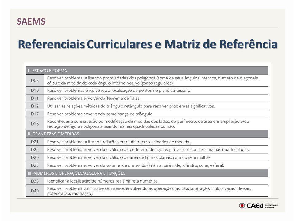 Referenciais Curriculares e Matriz de Referência SAEMS