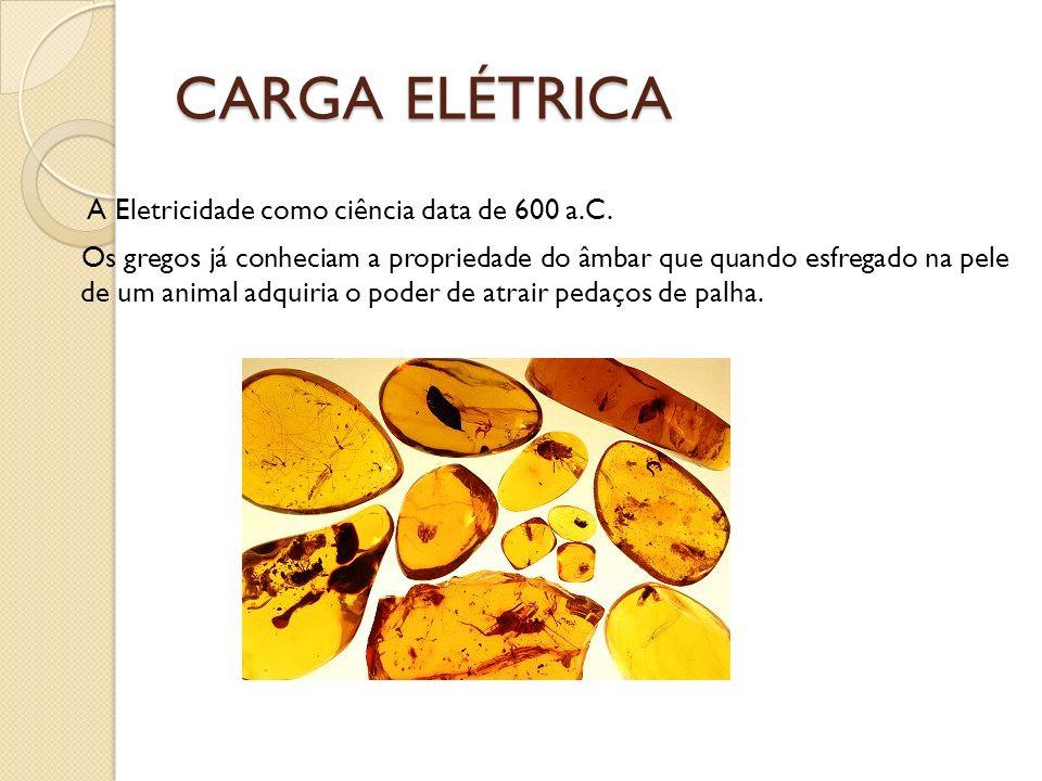 CARGA ELÉTRICA A Eletricidade como ciência data de 600 a.C. Os gregos já conheciam a propriedade do âmbar que quando esfregado na pele de um animal ad