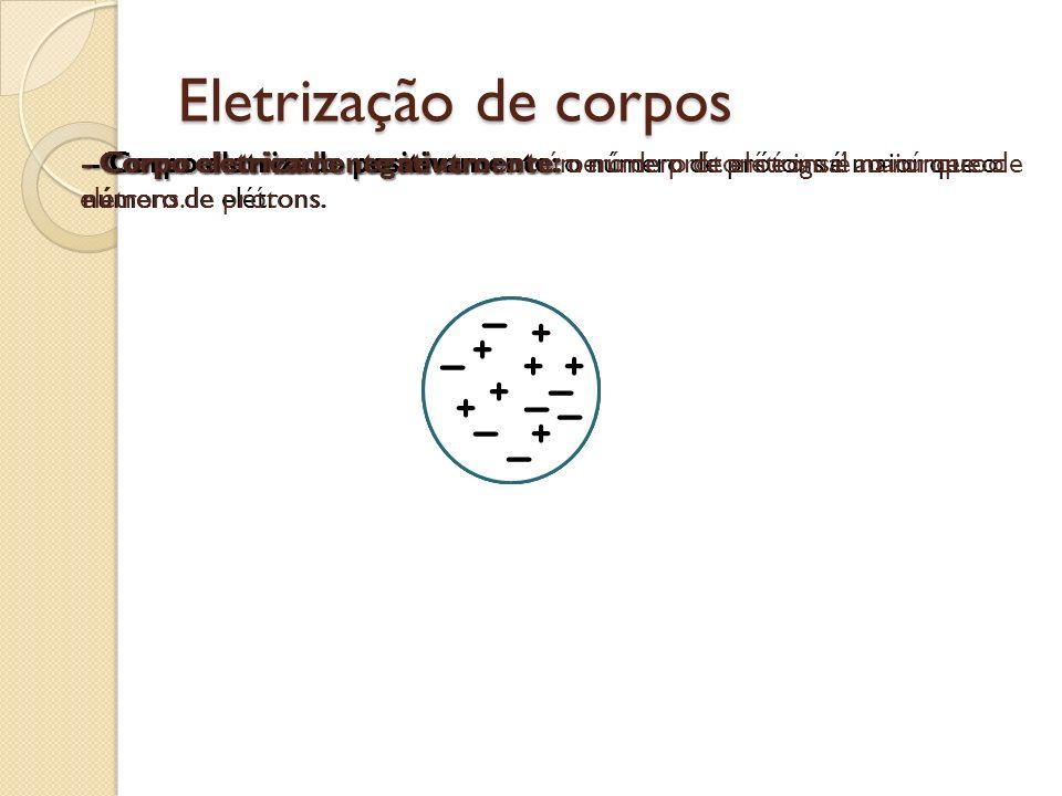 Eletrização de corpos - Corpo eletrizado positivamente: o número de prótons é maior que o número de elétrons. Corpo eletrizado negativamente: o número