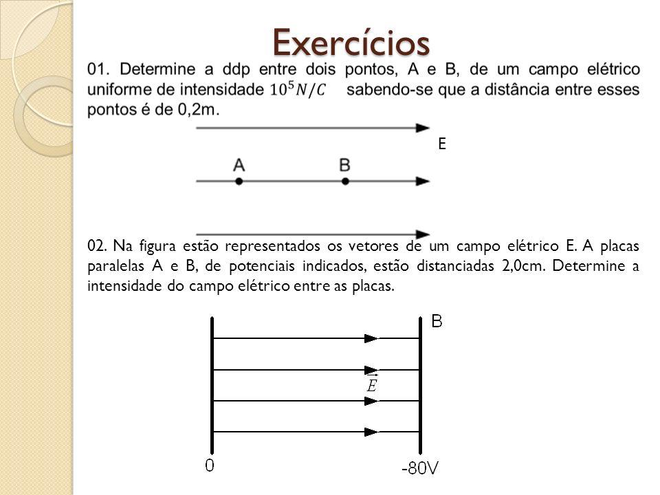 02. Na figura estão representados os vetores de um campo elétrico E. A placas paralelas A e B, de potenciais indicados, estão distanciadas 2,0cm. Dete