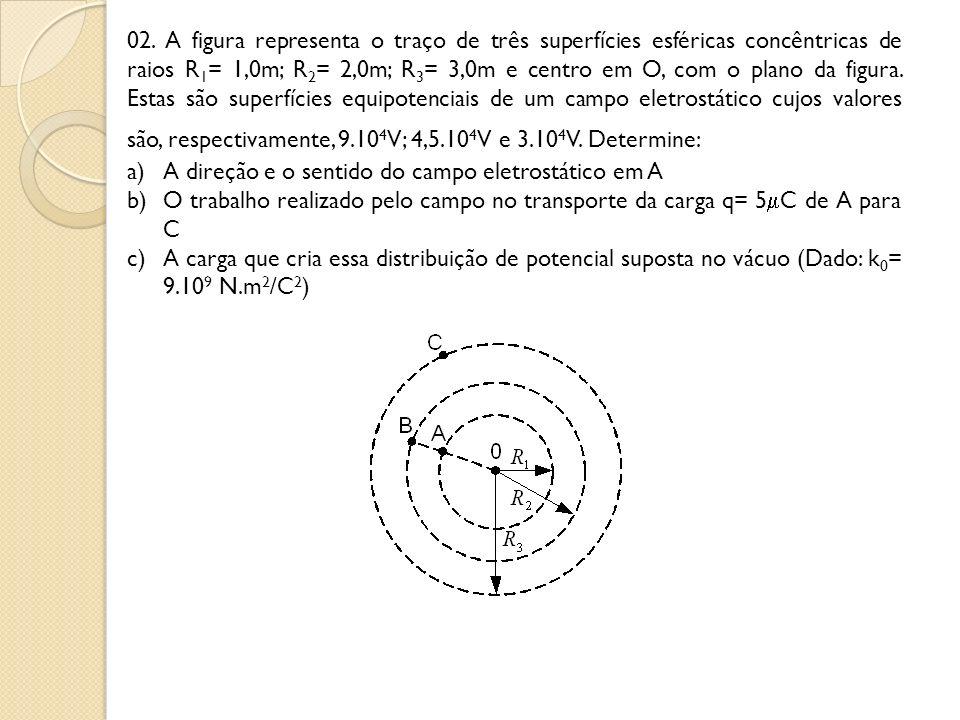 02. A figura representa o traço de três superfícies esféricas concêntricas de raios R 1 = 1,0m; R 2 = 2,0m; R 3 = 3,0m e centro em O, com o plano da f