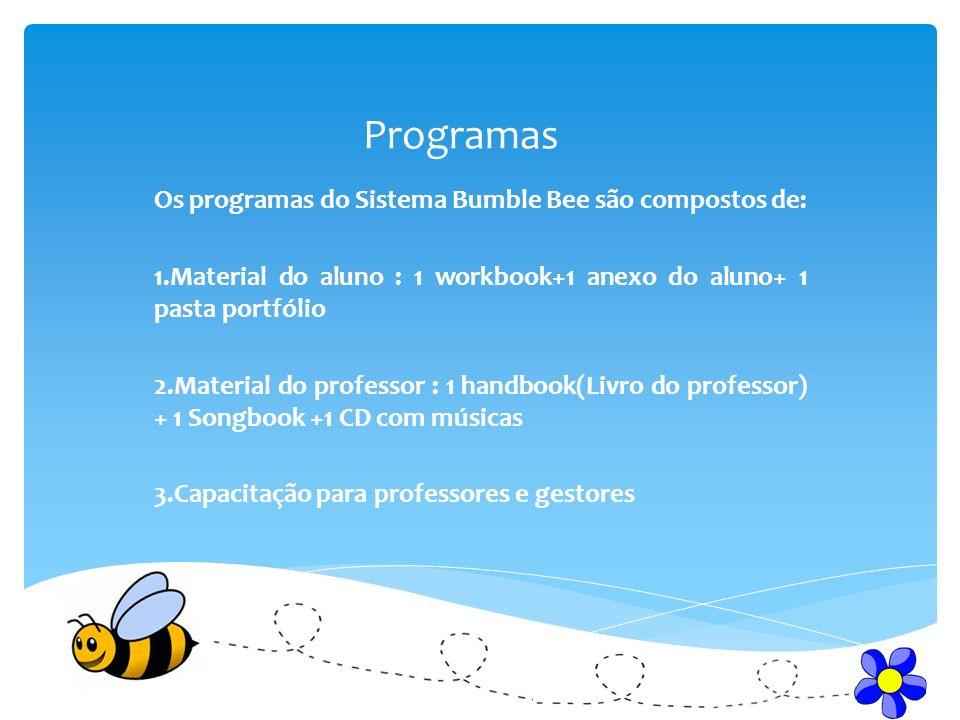 Programas Os programas do Sistema Bumble Bee são compostos de: 1.Material do aluno : 1 workbook+1 anexo do aluno+ 1 pasta portfólio 2.Material do prof