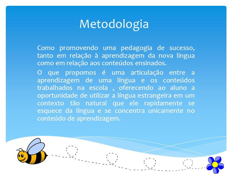 Metodologia Como promovendo uma pedagogia de sucesso, tanto em relação à aprendizagem da nova língua como em relação aos conteúdos ensinados. O que pr