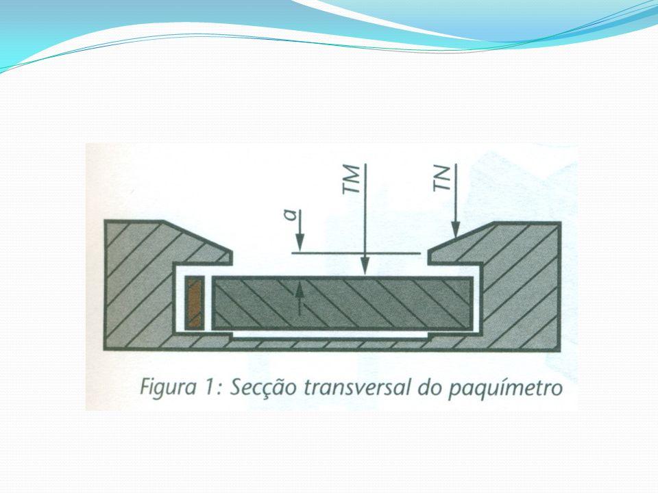 Exemplo de aplicação: Suponhamos um paquímetro com medida 2b + c = 0,7 mm; ao realizar a medição de um furo, a leitura foi de 4,5 mm (d 2 ).