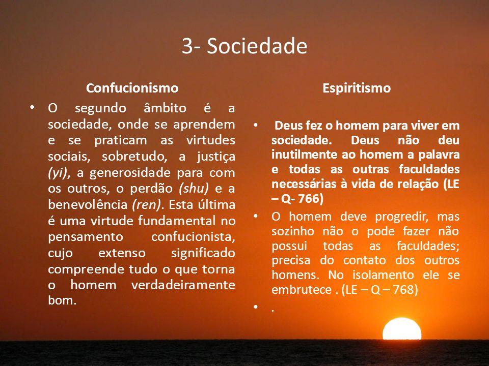3- Sociedade Confucionismo O segundo âmbito é a sociedade, onde se aprendem e se praticam as virtudes sociais, sobretudo, a justiça (yi), a generosidade para com os outros, o perdão (shu) e a benevolência (ren).