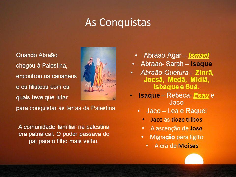 As Conquistas Abraao-Agar – Ismael Abraao- Sarah – Isaque Abraão-Quetura - Zinrã, Jocsã, Medã, Midiã, Isbaque e Suá.