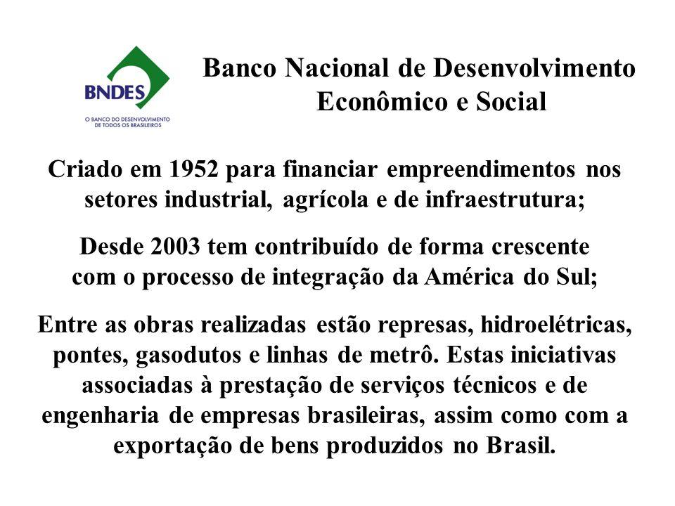 Banco Nacional de Desenvolvimento Econômico e Social Criado em 1952 para financiar empreendimentos nos setores industrial, agrícola e de infraestrutur