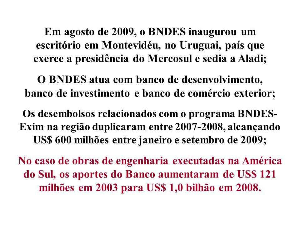 Em agosto de 2009, o BNDES inaugurou um escritório em Montevidéu, no Uruguai, país que exerce a presidência do Mercosul e sedia a Aladi; O BNDES atua