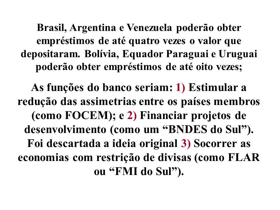 Brasil, Argentina e Venezuela poderão obter empréstimos de até quatro vezes o valor que depositaram. Bolívia, Equador Paraguai e Uruguai poderão obter
