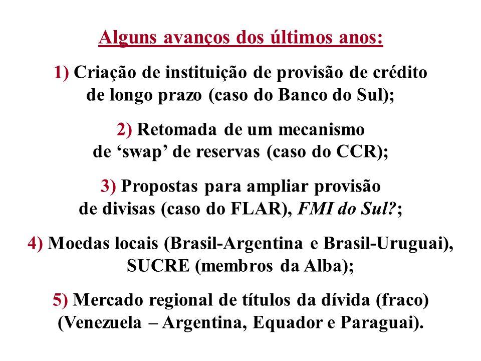 Alguns avanços dos últimos anos: 1) Criação de instituição de provisão de crédito de longo prazo (caso do Banco do Sul); 2) Retomada de um mecanismo d