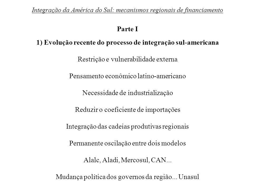 Integração da América do Sul: mecanismos regionais de financiamento Parte I 1) Evolução recente do processo de integração sul-americana Restrição e vu