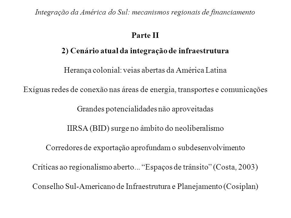 Integração da América do Sul: mecanismos regionais de financiamento Parte II 2) Cenário atual da integração de infraestrutura Herança colonial: veias
