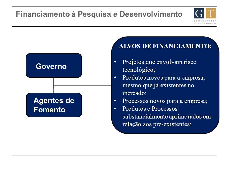 Financiamento à Pesquisa e Desenvolvimento Governo Agentes de Fomento ALVOS DE FINANCIAMENTO: Projetos que envolvam risco tecnológico; Produtos novos