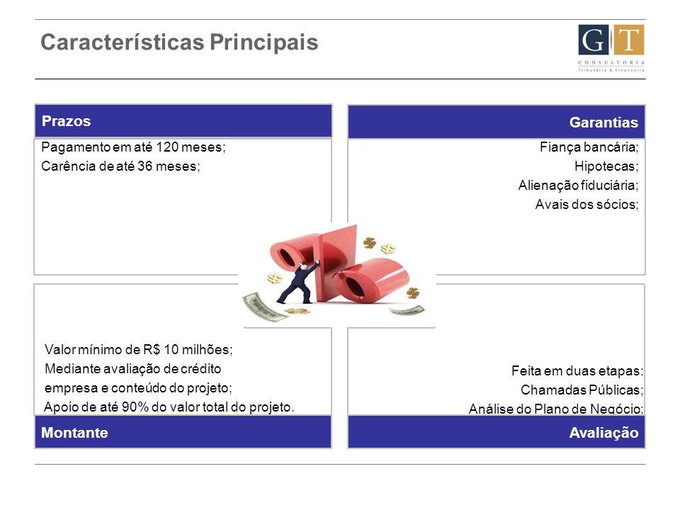 Características Principais Valor mínimo de R$ 10 milhões; Mediante avaliação de crédito empresa e conteúdo do projeto; Apoio de até 90% do valor total