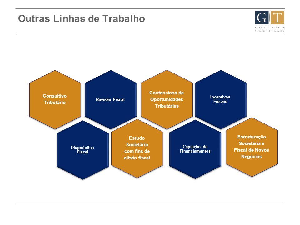 Outras Linhas de Trabalho Revisão Fiscal Consultivo Tributário Diagnóstico Fiscal Contencioso de Oportunidades Tributárias Captação de Financiamentos
