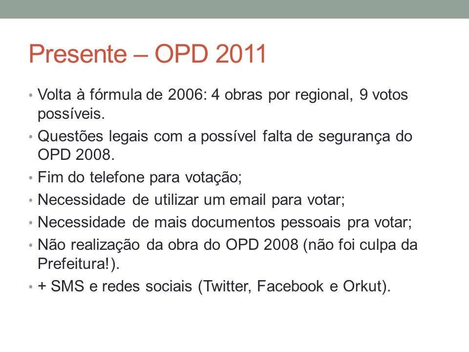 Presente – OPD 2011 Volta à fórmula de 2006: 4 obras por regional, 9 votos possíveis.