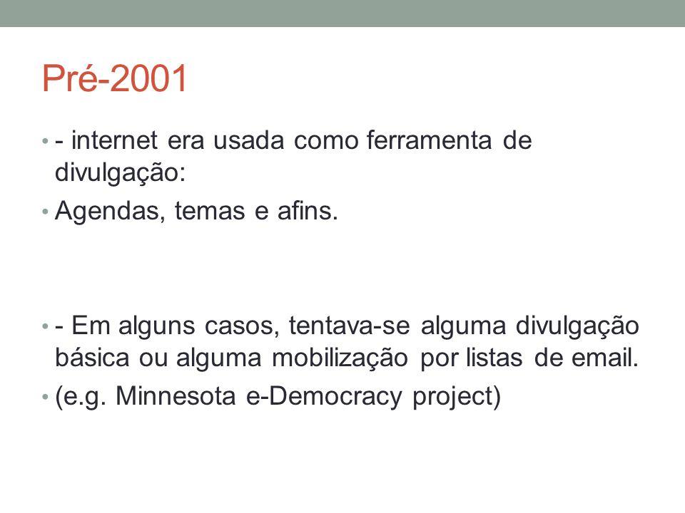 Pré-2001 - internet era usada como ferramenta de divulgação: Agendas, temas e afins.