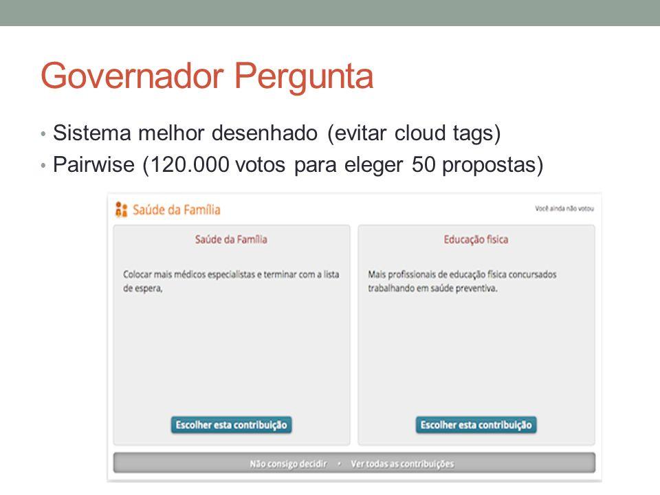 Governador Pergunta Sistema melhor desenhado (evitar cloud tags) Pairwise (120.000 votos para eleger 50 propostas)