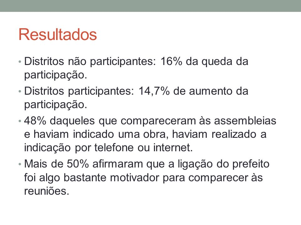 Resultados Distritos não participantes: 16% da queda da participação.